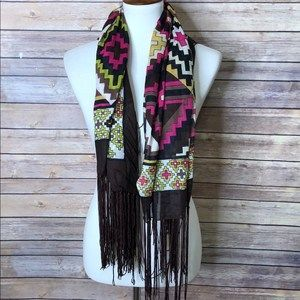 Geometric design square dress scarf with fringes